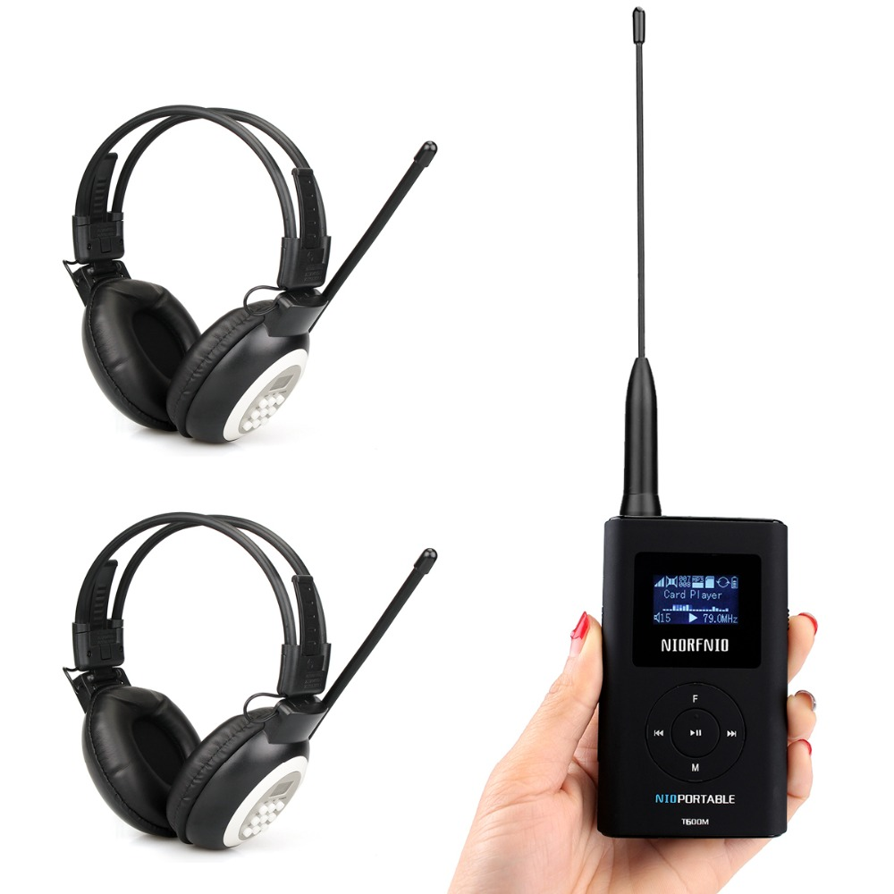 Portable FM Transmitter MP3 Broadcast Radio Transmitter + Headphone for Meeting Church Tour guide Y4409B+2Y4440A niorfnio portable 0 6w fm transmitter mp3 broadcast radio transmitter for car meeting tour guide y4409b