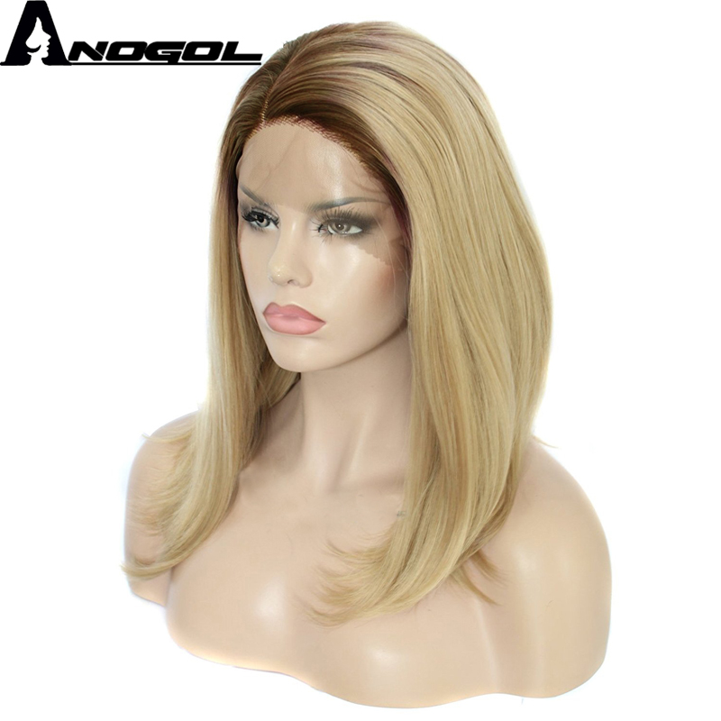 Anogol Glueless Straight High Temperature Fiber Hair Brown Ombre Blonde Bob Short Synthetic Lace Front Wig for White Women