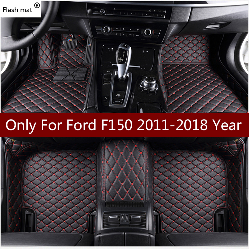 Flash mat en cuir voiture tapis de sol pour Ford F150 4 porte 1990-2016 2017 2018 personnalisé auto repose-pieds automobile tapis couverture