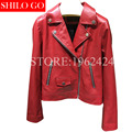 TOP 2017 new fashion women high-quality leather sheepskin lapel zipper short paragraph locomotive long-sleeved red black leather