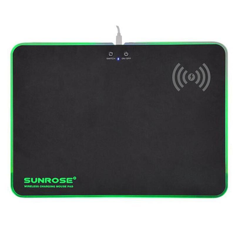 SUNROSE MP-100 jeu tapis de souris RGB ordinateur USB chargeur sans fil tapis de souris
