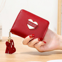 Small fresh small wallet ladies bag short zipper tassel love new Korean student compact mini key