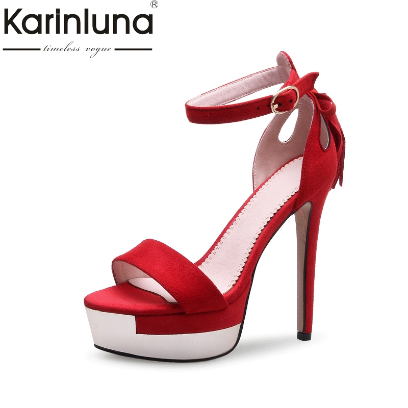 Karinluna New Top Quality Sexy Super High Heels Platform Bowtie Women Shoes Sandal Summer Party Wedding Sandals Woman