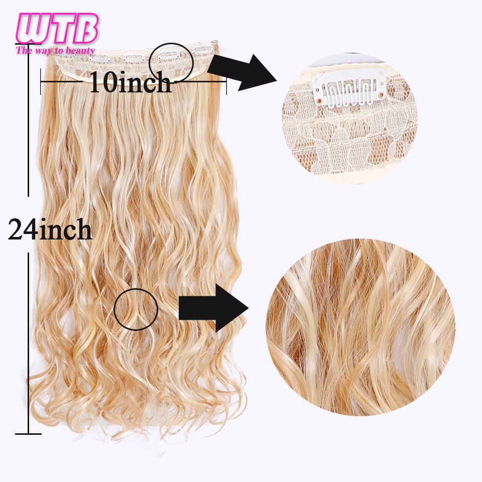 Synthetic Clip-in One Piece Hair Extensions & Wigs Wtb 24 Long Wavy Synthetic Clip In Hair Extensions Heat Resistant Fiber 5 Clip One Piece Black Blue Ombre Hair Extensions