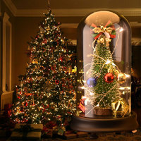 WR Artificial Christmas Tree Glass Dome Tree Music With LED Light Gift For Christmas Good Home Decoration New Year Gift