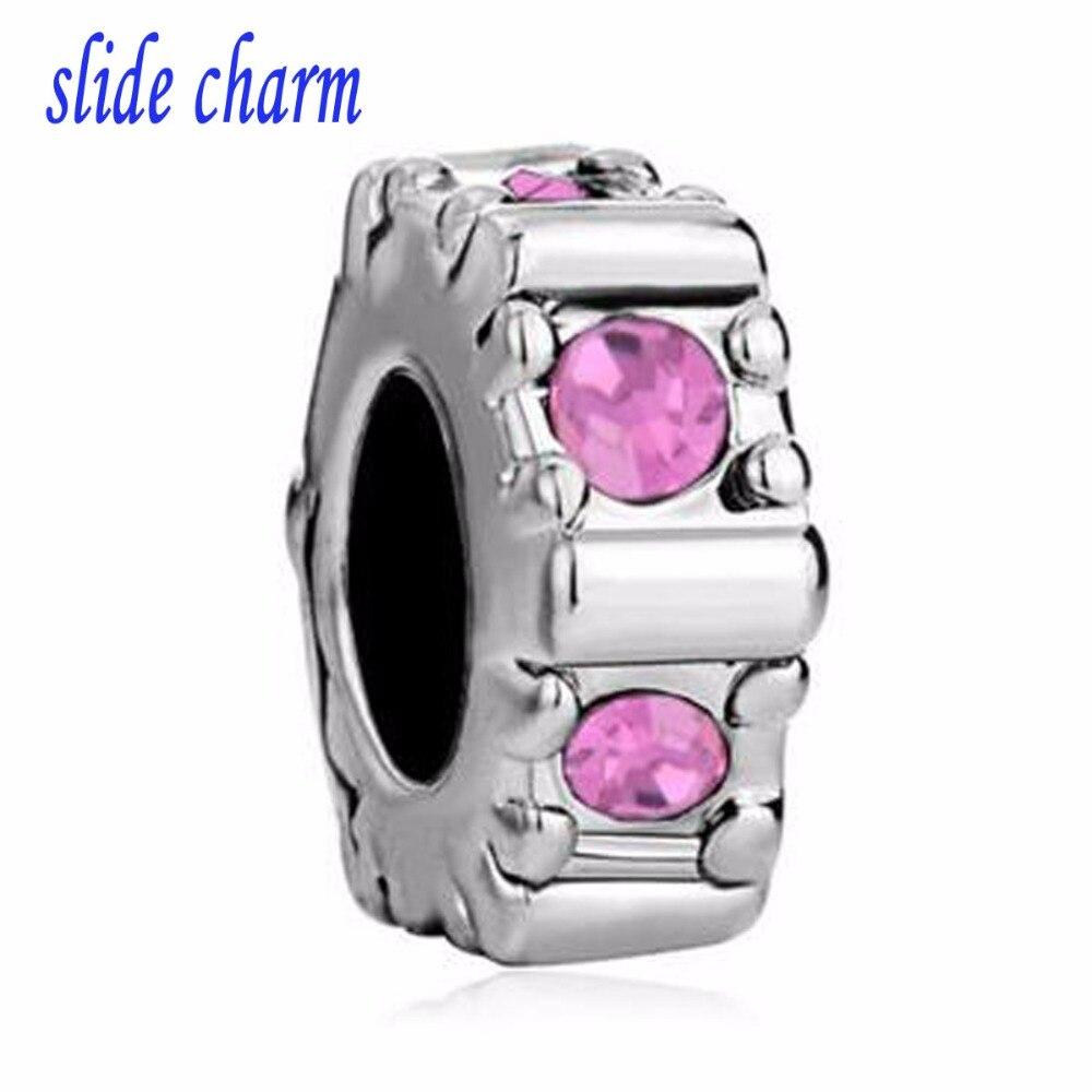 slid charm Free shipping Rose Pink Crystal Charm Bracelet Spacer European Bead fit Pandora bracelet