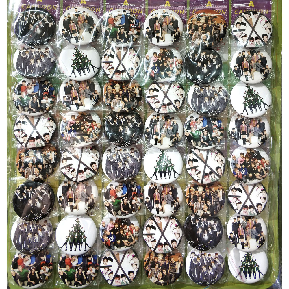 EXO KPOP stars fashion 45MM 16/24/48 pcs lot PIN BACK BADGE BUTTON BROOCH for BAG GIFT TOY CLOTH
