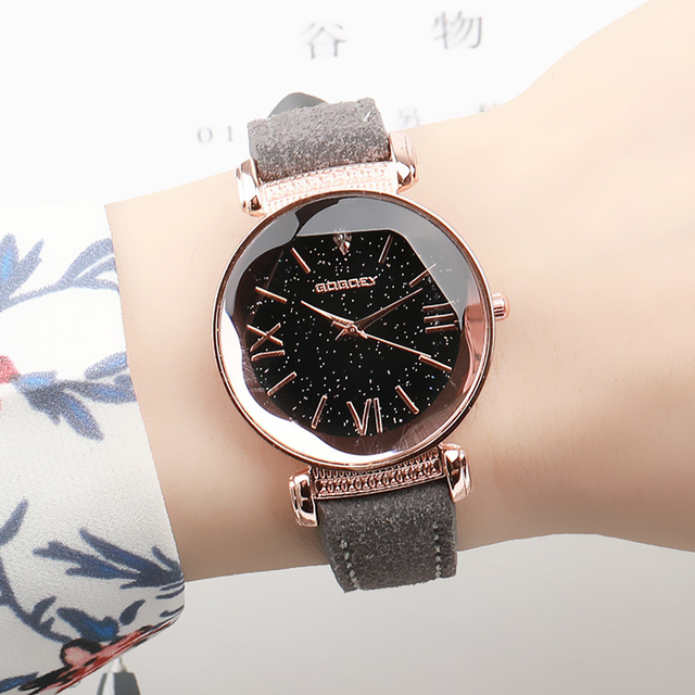Exquisite Luxury Women Watches Fashion Dress Ladies Watch Rose gold Starry Sky D