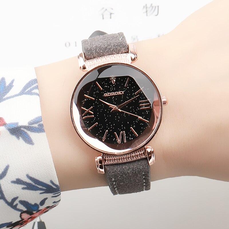 Neue Ankunft Luxus Frauen Uhren Mode Kleid Damen Uhr Rose gold Star zifferblatt Design Lederband Quarzuhr Uhr Frauen