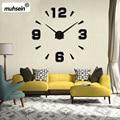Настенные часы для домашнего декора  Большие зеркальные 3D настенные часы  современный дизайн  большие настенные часы  diy настенные наклейки ...