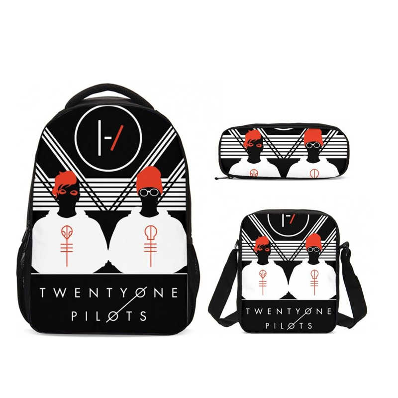 Новинка, школьная сумка Twenty One Pilots, детский школьный рюкзак, набор для подростков мальчиков, рюкзак для ноутбука, Женский чехол-карандаш через плечо для детей