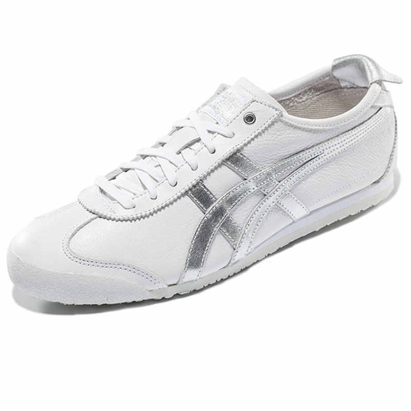 size 40 8f12a 3ea77 ONITSUKA TIGER MEXICO 66 White silver Men Women Shoes Leather Rubber  Hard-Wearing Travel Street Low Sneakers Badminton Shoes