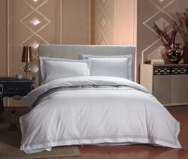 4pc 100 Cotton White Hotel Style Duvet Cover Set With Piping Bed Sheet Queen King