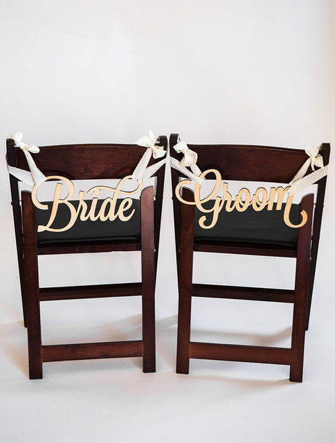Wedding Chair Signs Bride And Groom Fairytale Decorations For Table