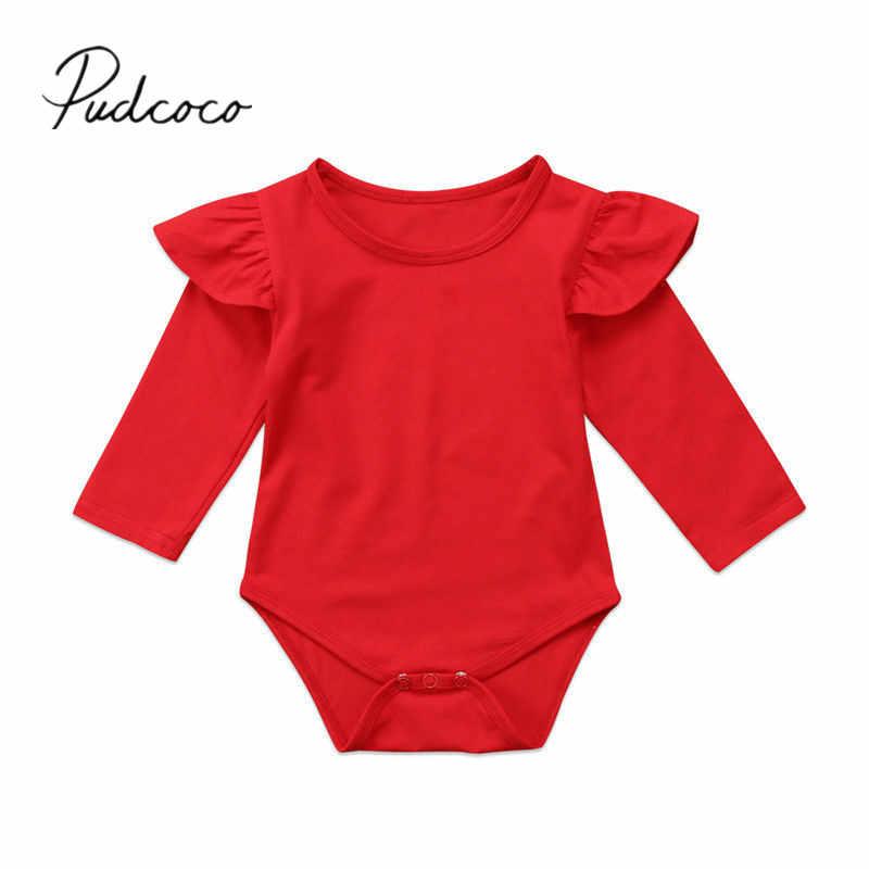 2017 Nuevo bebé niño Infante bebé niñas Ruffled manga larga mono trajes mono Casual ropa sólida
