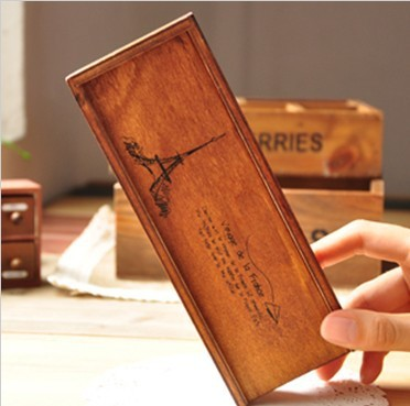 Hot sale student stationery new arrival fashion cute retro Paris style wood pencil bag box . pencil case . Storgae bag . pen hol