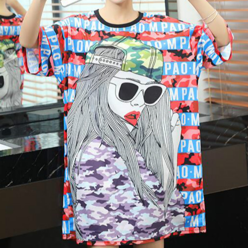 Korean Fashion Long <font><b>Tshirt</b></font> <font><b>Dress</b></font> Women Clothes Summer Oversized Loose T Shirt Womens Plus Size Hip Hop <font><b>Graphics</b></font> Tees Streetwear image