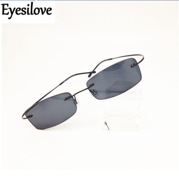 Eyesilove finished rimless myopia sunglasses ultra-light frameless ready-made Nearsighted Glasses Myopia sun glasses grey color