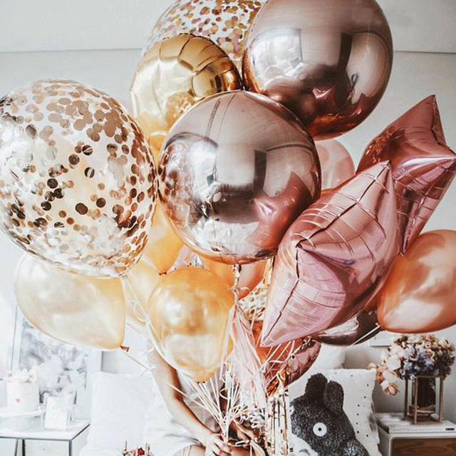 Rose Gold Inlay Round Number Ballons Air Balloons Birthday Party Decorations Kids Party Eid Mubarak Globos Babyshower Balloon