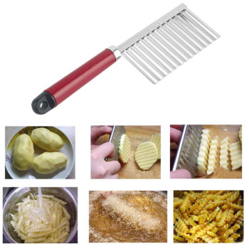 1pcs New Potato Knife Stainless Steel Potato Chip Dough Vegetable Crinkle Wavy Cutter High Quality Slicer Fruits Knife Food