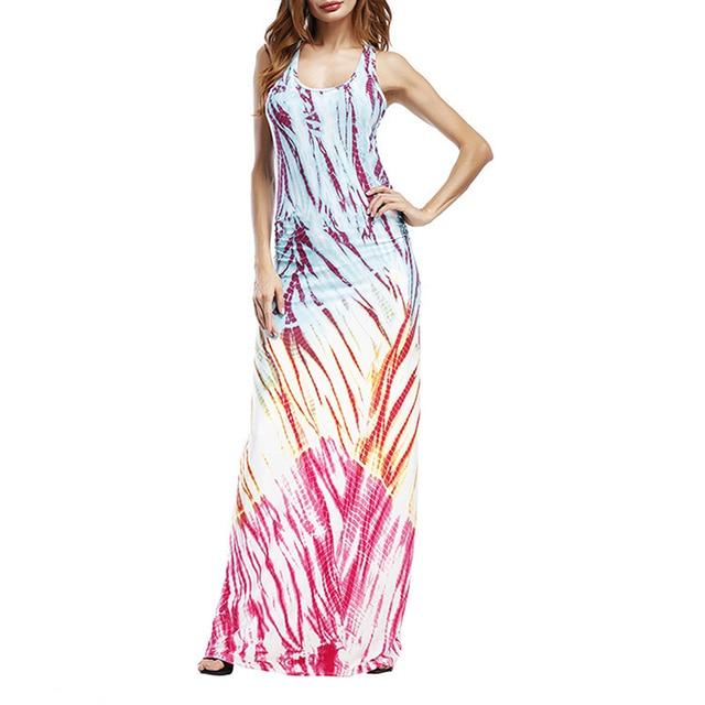 AIEnny Vintage Summer Beach Dress Women Elegant Pritn Sleeveless Evening Party Dress