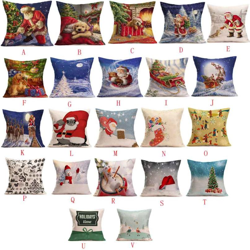 New Qualified Christmas Santa Claus Decoration Festival Pillow Case Cushion Cover decorative throw pillows Dropship D45SE12A