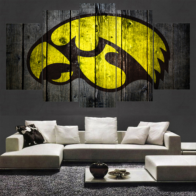 5 Panel Iowa Hawkeyes Sport Logo Animal Prints Wall Home Decor Picture Canvas Painting Calligraphy For