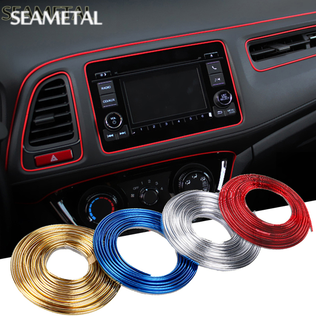 5m car interior moulding strips decoration line door dashboard air vent steering wheel flexible. Black Bedroom Furniture Sets. Home Design Ideas
