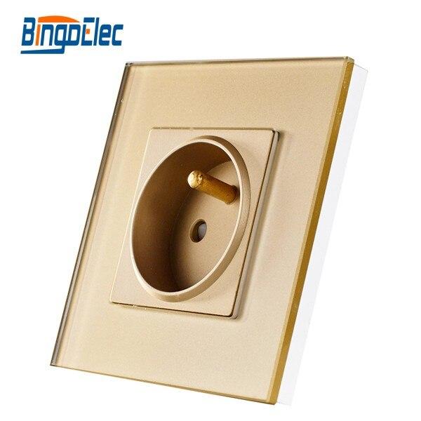 EU French type socket, golden glass socket, 16 Ampere wall power Socket