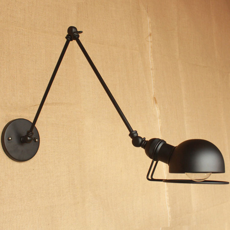 купить wall lamps loft vintage double long arm wall lamp lamparas de pared adjustable Handle Metal Rustic wall Light Sconce Fixtures по цене 2116.12 рублей