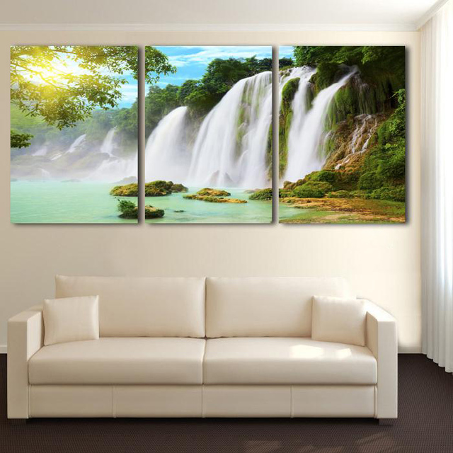 3 Piece Wall Art Painting Canvas Strong Waterfall Natural Beauty Modern Picture Home Decor