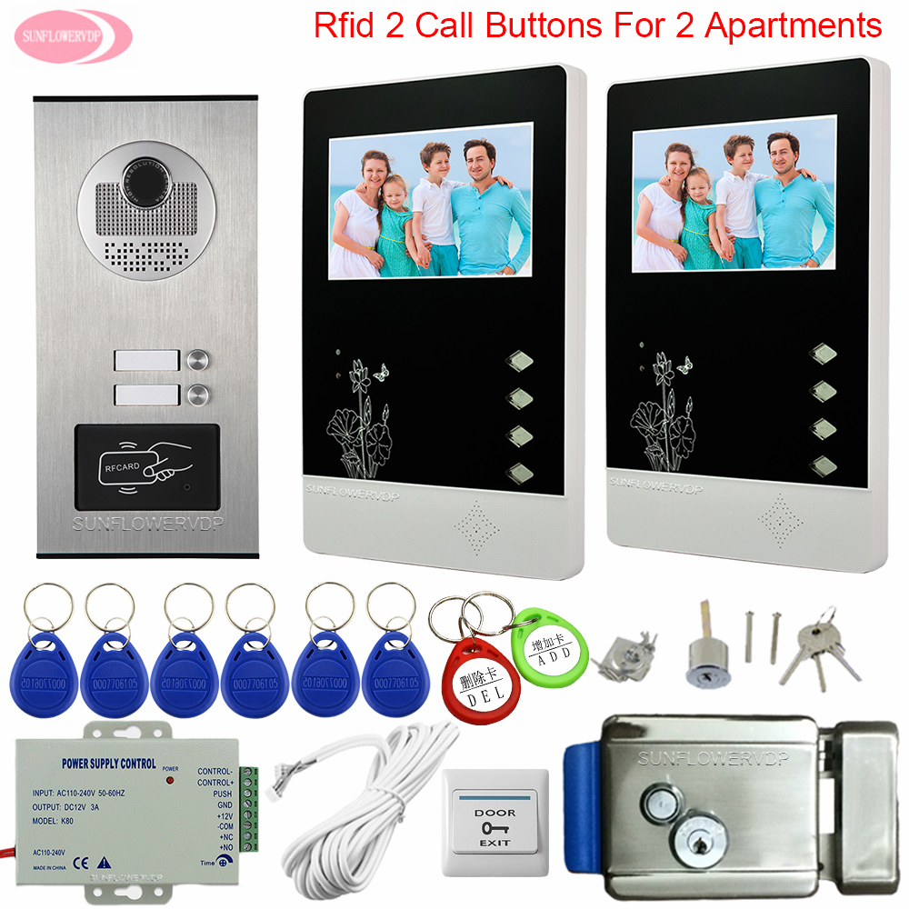 Video Intercom With Electric Lock Video Intercom 2 Monitors Video Intercom 2 Apartment Access Control RFID Intercom On 2 Buttons