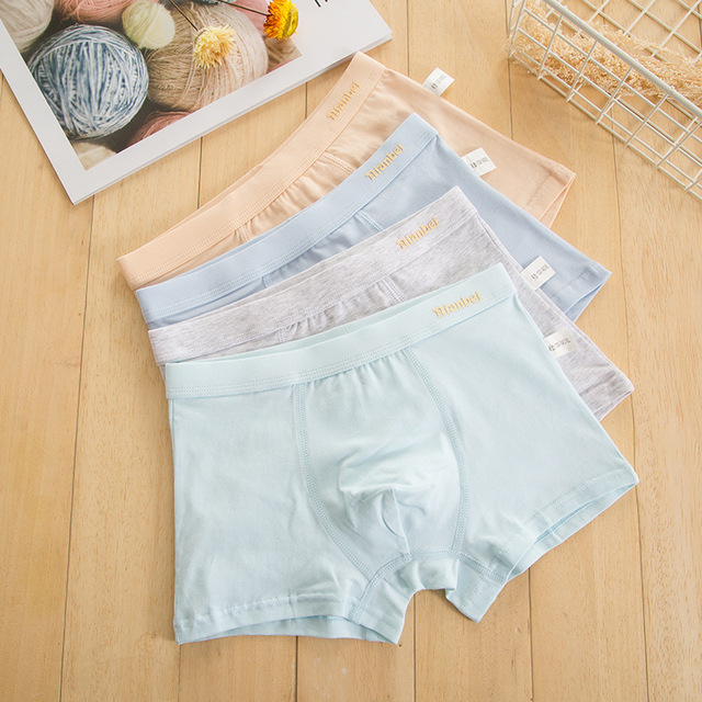2019 new free shipping high quality A boys boxer shorts panties kids  solid children underwear 6-12years old 4pcs/lot students