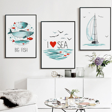 Bianche Wall Nordic Simple Ocean Fish Sailboat and Seagull Canvas Painting Art Print Poster Picture Paintings Home Decor