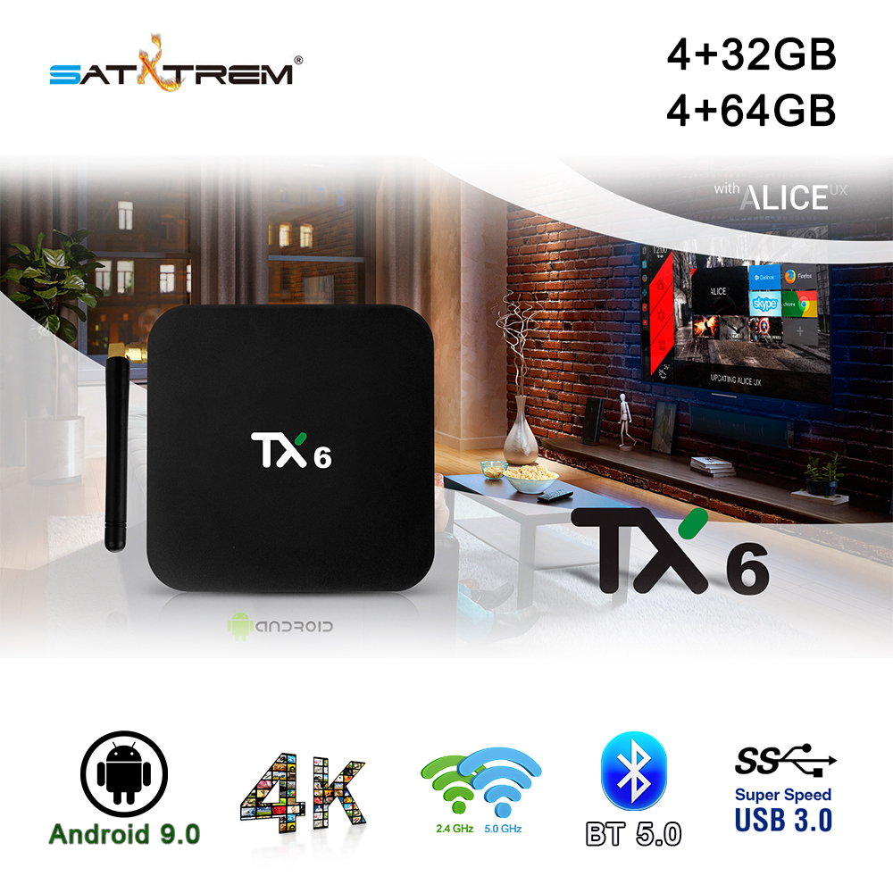 Tanix TX6 boîtier de smart tv Android 9.0 4 K IPTV 4 GB DDR3 32 GB MEM BT 5.0 Support Double Wifi 2.4 g/5 GHz Youtube H.265 Set Top Box