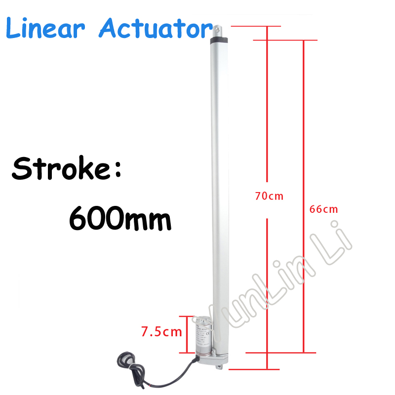 600mm Stroke Linear Actuator Motor DC112V24V36V Heavy Duty 750N Load Mini Electric Linear Actuator Linear Tubular Motor new heavy duty linear actuator 20 stroke 220 pound max lift 12v dc 8mm s mini electric linear actuator linear tubular motor