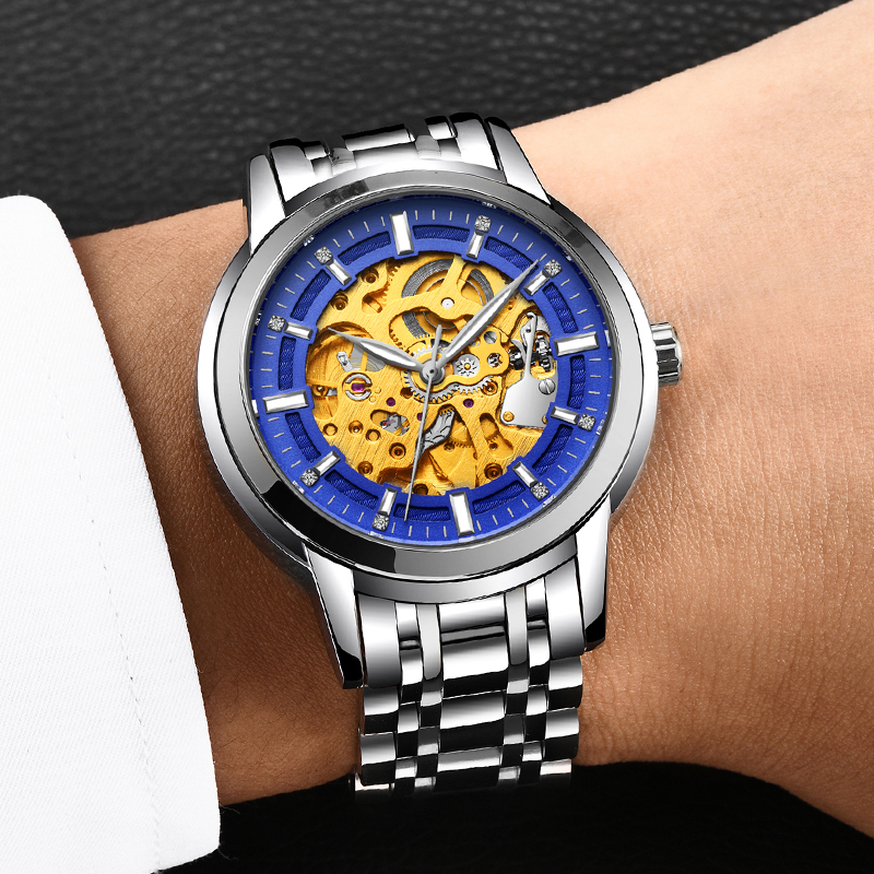 LIGE New Automatic Skeleton Mens Watches Top Brand Luxury Fashion Gold Relojes Hombre Clock Mechanical Hollow
