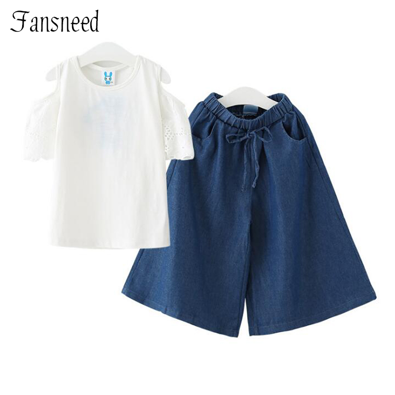 2018 new denim children's wear girls suit summer middle school children's 100% pure cotton two-piece shorts