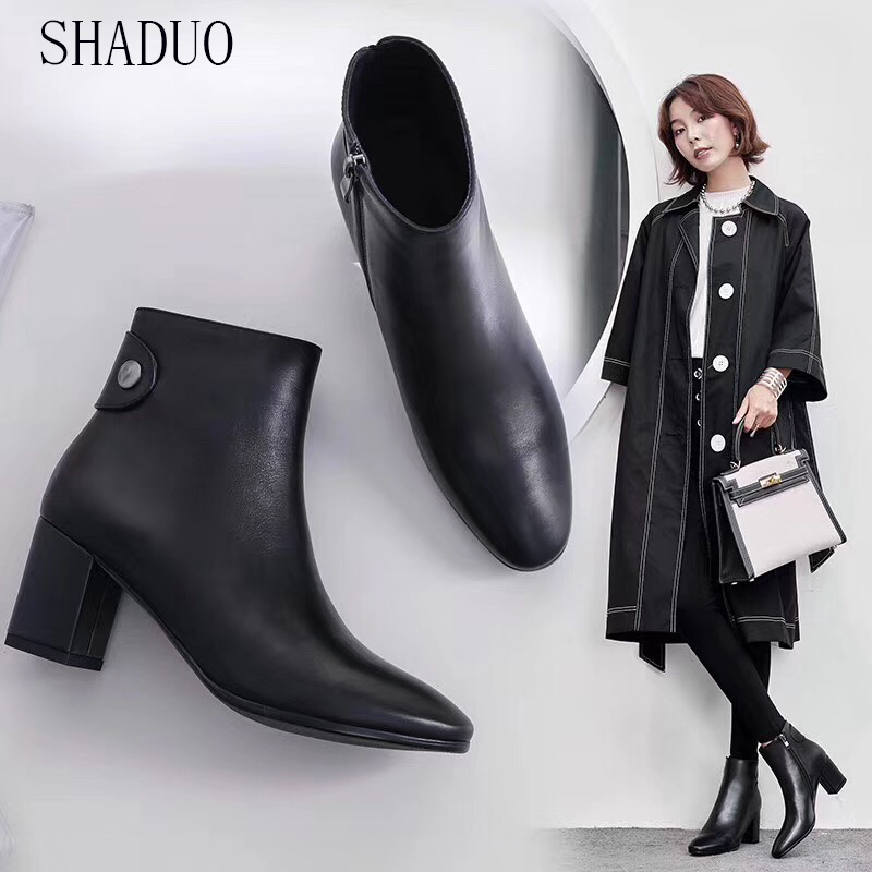 2018 shaduo women Genuine Leather cylinder zipper high heels Chelsea booties