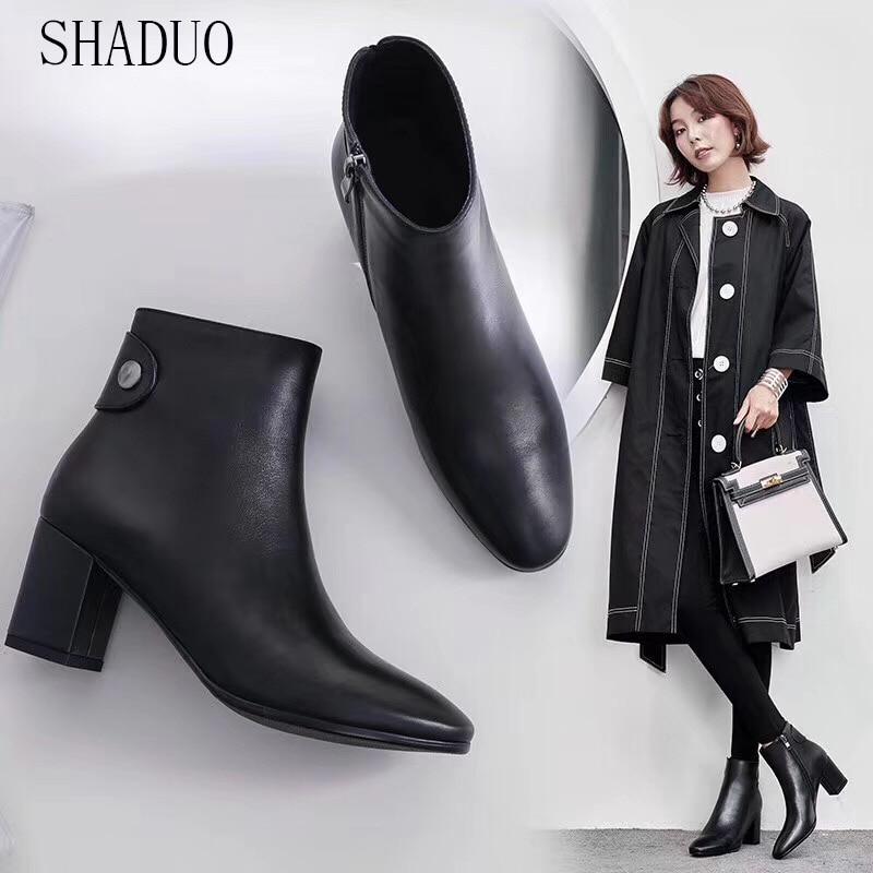 2018 shaduo women Genuine Leather cylinder zipper high heels Chelsea booties