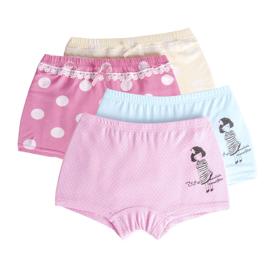 2 Pcslot Childrens Girls Underwear Baby Boxer Underpants For Kids Pants Cute Cartoon -1239