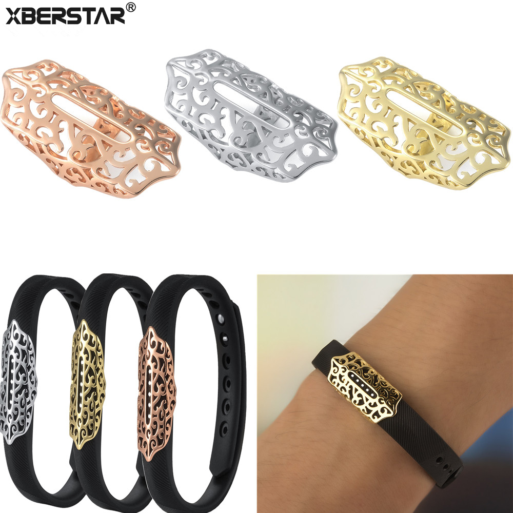 Fashion Bling Stainless Steel Decoration Accessory Charm for Fitbit FLEX 2 Fitness Track ...