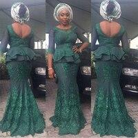 Fashion Plus Size African Green Appliques Mermaid Long Evening Dresses Open Back Peplum Ankara kitenge Women Long Formal Gowns