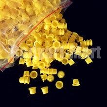 1000 sztuk 8mm mały rozmiar żółty tusz do tatuażu kubki czapki permanentny makijaż Pigment kubki czapki dostaw YIC9 1000 # darmowa wysyłka