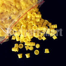 1000pcs 8mm Small Size Yellow Tattoo Ink Cups Caps Permanent Makeup Pigment Cups Caps Supply YIC9 1000# Free Shipping