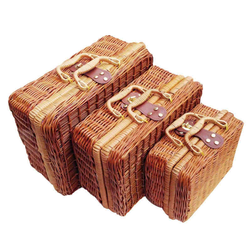 Rattan Weave Suitcase Portable Hanfmade Storage Box Vintage Natural Red Wine Gift Boxes Case Sundries Food Picnic Organizer