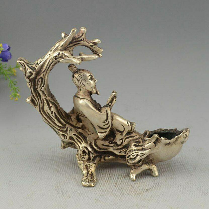 Украшенный Китай Серебро ручной работы MIAO Elder Read On Tree филиал статуя - 4