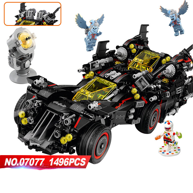 DHL New 07077 Super Heroes Series The Ultimate Batmobile Model Building Block Compatible 70917 classic car-styling toys for chi