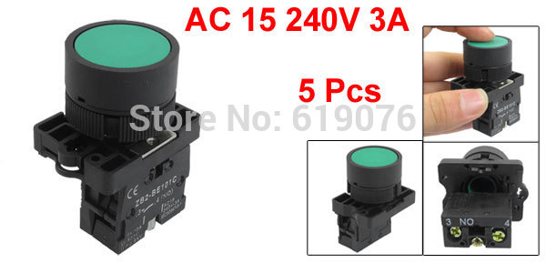 5PCS 600V 10A ZB2-EA31 22mm 1 NO N/O Green Sign Momentary Push Button Switch