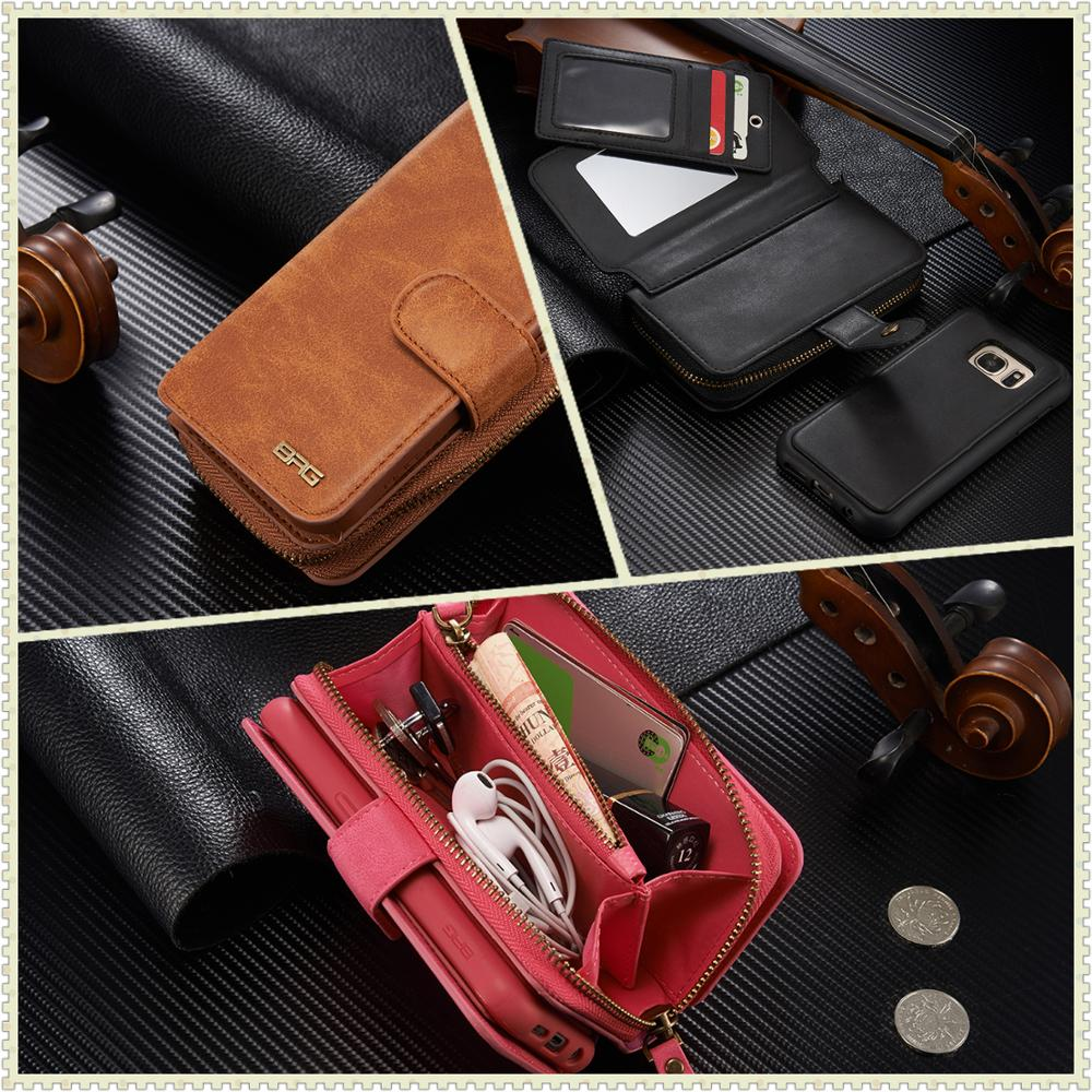 BRGwith makeup mirror photo frame Case for Samsung Galaxy Note 4 <font><b>5</b></font> 8 <font><b>9</b></font> multifunction <font><b>11</b></font> bank card slot detachable wallet holster image